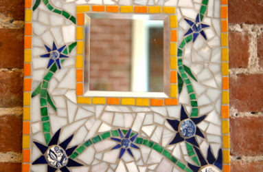 Mosaic Mirror with Flowers