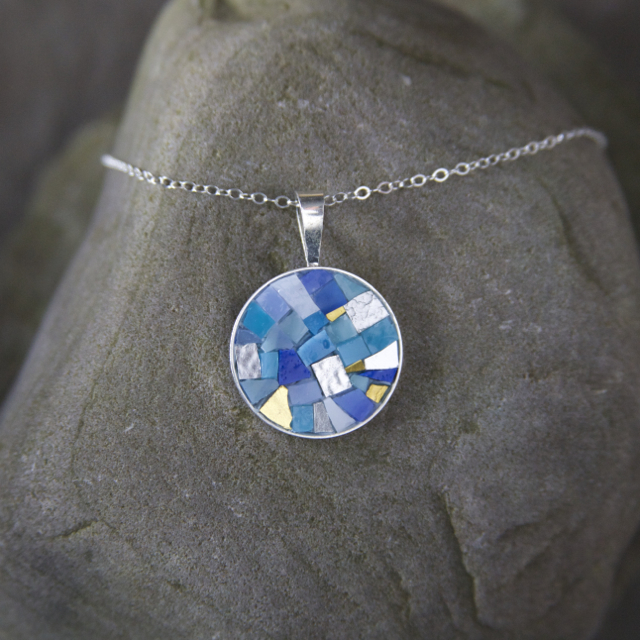 Mosaic jewelry christine kenneally mosaic artist round mosaic necklace blue and gold smalti aloadofball Image collections