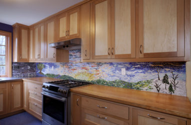 Impressionistic Landscape Mosaic Backsplash, Goldman Kitchen, Florence, MA
