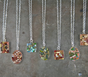 Collection of Mixed Stones & Smalti Necklaces: Turqoise, Unakite, Rhodonite, Pearls
