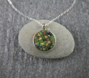 Teacup Mosaic Necklace with Gold