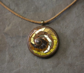 Nautilus Spiral with Gold Smalti set in Wooden Bezel