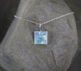 Turquoise and Gold Smalti Mosaic Necklace