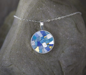 Round Mosaic Necklace: Blue and Gold Smalti