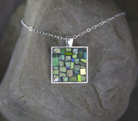 Green Patterned Mosaic Necklace: Teacups and Smalti