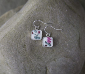 Tiny Flowered Teacup Earrings