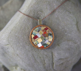Gold, Smalti & Teacup Mosaic Necklace in Wooden Bezel