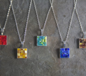 A Rainbow Collection of Smalti Mosaic Necklaces